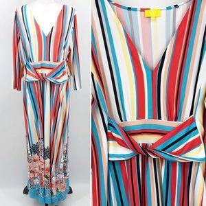 Liz Lange Maxi Dress Rainbow Striped Illusion 2X